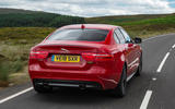 Jaguar XE 300 Sport 2018 UK first drive review hero rear