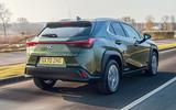 2 Lexus UX300e 2021 UK first drive review hero rear