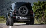 20 Land Rover Defender V8 2021 UK FD cornering rear