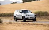 20 Rover Defender PHEV 2021 UK FD driving front