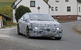 2022 Mercedes EQE spies cornering front