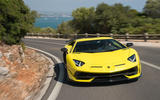 Lamborghini Aventador SVJ 2018 first drive review road cornering front