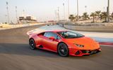 Lamborghini Huracan Evo 2019 first drive review - cornering front