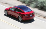Tesla Model 3 2018 review on the road rear left