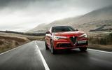 Alfa Romeo Stelvio Quadrifoglio 2018 UK RHD first drive - on the road front