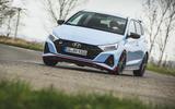 22 Hyundai i20 N 2021 UK first drive review cornering three wheels