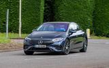 22 Mercedes Benz EQS 2021 UK LHD FD cornering front