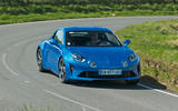 Alpine A110 2018 UK on the road front
