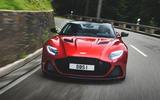 Aston Martin DBS Superleggera 2018 first drive review road driving front end