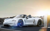 Porsche electric Boxster render 2020 - stationary side