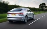 Audi E-tron Sportback 55 2020 UK first drive review - hero rear