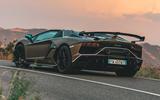 Lamborghini Aventador SVJ Roadster 2019 first drive review - hero rear