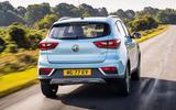 MG ZS EV 2019 UK first drive review - hero rear