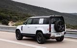 3 Rover Defender PHEV 2021 UK FD hero rear