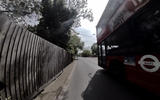 Helmet-cam reveals some of the scarier aspects of using an e-scooter - here a bus passes by