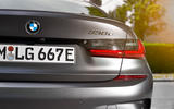BMW 3 Series 330e 2019 first drive review - rear badge