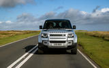 4 Land Rover Defender 90 D250 2021 UK first drive review on road nose