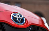 Toyota Yaris hybrid 2020 UK first drive review - front badge