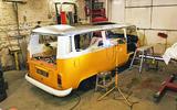 Volkswagen camper van being worked on