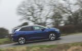 76 Mustang Mach e ID 4 Polestar 2 triple test 2021 VW tracking side