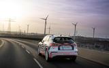 82 Audi Q4 Etron 2021 prototype drive on road rear