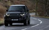 82 Land Rover Defender V8 2021 official images on road front