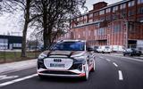 83 Audi Q4 Etron 2021 prototype drive on road front