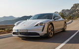 85 Porsche Taycan Cross Turismo official images on road white