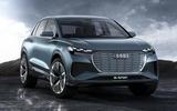 Audi Q4 E-tron electric SUV Geneva 2019 official press images - front