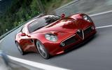 Alfa Romeo 8C moving at speed