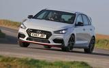 Hyundai i30 N 2018 UK review cornering front