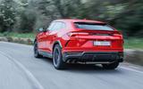 Lamborghini Urus review 2018 on the road rear