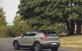 Volvo XC40 P8 Recharge 2020 UK first drive review - cornering rear