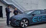 90 Mercedes Benz EQS prototype ride 2021 nose talking