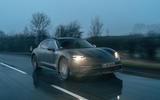90 Porsche Taycan Cross Turismo prototype drive on road front
