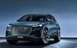 Audi Q4 E-tron electric SUV Geneva 2019 official press images - static front
