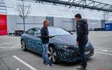 91 Mercedes Benz EQS prototype ride 2021 static talking