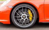 Yellow Porsche 911 Turbo S brake calipers