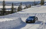 Porsche Taycan prototype ride 2019 - cornering front