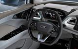 Audi Q4 E-tron electric SUV Geneva 2019 official press images - steering wheel