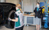 Porsche Taycan breaks electric drift record - official images - tyre inspection