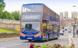95 Switch Mobility Metrodecker EV in York with Minster behind   edit