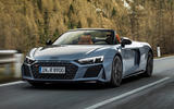 96 Audi R8 Performance RWD 2021 official images roadster tracking front