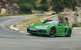 Porsche 718 Boxster GTS 2020 official press images - cornering front