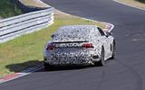 Audi E-tron GT camo track driving - rear