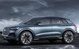 Audi Q4 E-tron electric SUV Geneva 2019 official press images - hero side