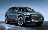 Audi Q4 E-tron electric SUV Geneva 2019 official press images - hero front