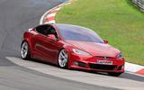 Tesla Model S Plaid prototype at Nurburgring - front