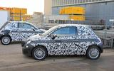 Fiat 500e new spies parked