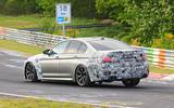 2021 BMW M5 CS prototype at Nurburgring - cornering rear 3/4